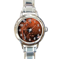 Fractal Peacock World Background Round Italian Charm Watch by Simbadda