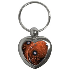Fractal Peacock World Background Key Chains (heart)