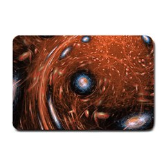 Fractal Peacock World Background Small Doormat  by Simbadda
