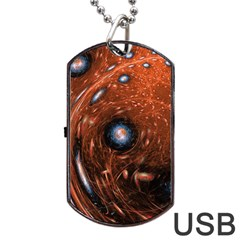 Fractal Peacock World Background Dog Tag Usb Flash (one Side) by Simbadda