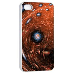 Fractal Peacock World Background Apple Iphone 4/4s Seamless Case (white) by Simbadda