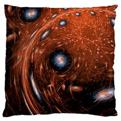 Fractal Peacock World Background Large Cushion Case (one Side) by Simbadda