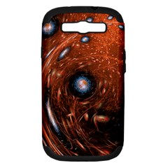 Fractal Peacock World Background Samsung Galaxy S Iii Hardshell Case (pc+silicone) by Simbadda