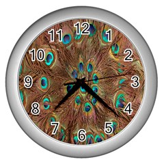 Peacock Pattern Background Wall Clocks (silver)