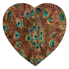 Peacock Pattern Background Jigsaw Puzzle (heart) by Simbadda