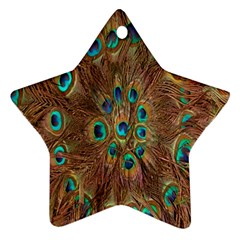 Peacock Pattern Background Star Ornament (two Sides) by Simbadda