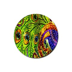 Glass Tile Peacock Feathers Rubber Coaster (round)  by Simbadda