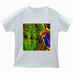Glass Tile Peacock Feathers Kids White T Shirts by Simbadda