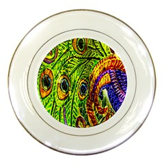 Glass Tile Peacock Feathers Porcelain Plates by Simbadda