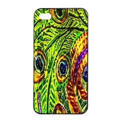 Glass Tile Peacock Feathers Apple Iphone 4/4s Seamless Case (black) by Simbadda