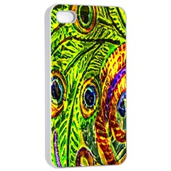 Glass Tile Peacock Feathers Apple Iphone 4/4s Seamless Case (white) by Simbadda