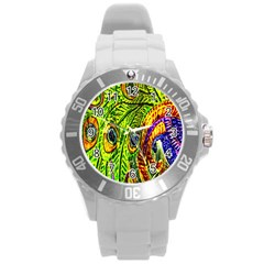 Glass Tile Peacock Feathers Round Plastic Sport Watch (l)