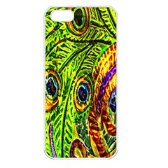 Glass Tile Peacock Feathers Apple Iphone 5 Seamless Case (white) by Simbadda