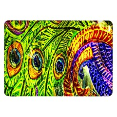 Glass Tile Peacock Feathers Samsung Galaxy Tab 8 9  P7300 Flip Case by Simbadda
