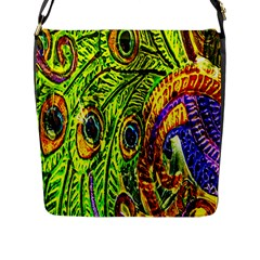 Glass Tile Peacock Feathers Flap Messenger Bag (l)