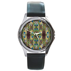 Beautiful Peacock Feathers Seamless Abstract Wallpaper Background Round Metal Watch by Simbadda