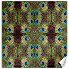 Beautiful Peacock Feathers Seamless Abstract Wallpaper Background Canvas 16  X 16   by Simbadda