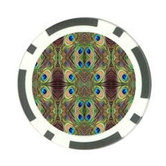 Beautiful Peacock Feathers Seamless Abstract Wallpaper Background Poker Chip Card Guard by Simbadda
