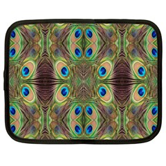 Beautiful Peacock Feathers Seamless Abstract Wallpaper Background Netbook Case (xxl)  by Simbadda