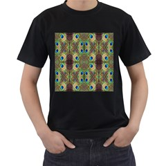Beautiful Peacock Feathers Seamless Abstract Wallpaper Background Men s T Shirt (black) by Simbadda
