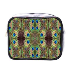 Beautiful Peacock Feathers Seamless Abstract Wallpaper Background Mini Toiletries Bags by Simbadda