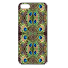 Beautiful Peacock Feathers Seamless Abstract Wallpaper Background Apple Seamless Iphone 5 Case (clear) by Simbadda