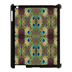Beautiful Peacock Feathers Seamless Abstract Wallpaper Background Apple Ipad 3/4 Case (black)