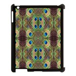 Beautiful Peacock Feathers Seamless Abstract Wallpaper Background Apple iPad 3/4 Case (Black) Front