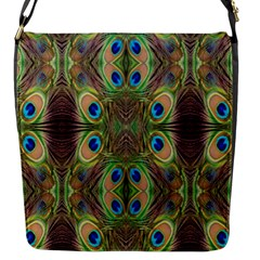 Beautiful Peacock Feathers Seamless Abstract Wallpaper Background Flap Messenger Bag (s) by Simbadda