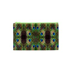 Beautiful Peacock Feathers Seamless Abstract Wallpaper Background Cosmetic Bag (xs) by Simbadda