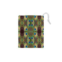 Beautiful Peacock Feathers Seamless Abstract Wallpaper Background Drawstring Pouches (xs)