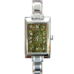Peacock Feathers Green Background Rectangle Italian Charm Watch by Simbadda