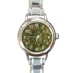 Peacock Feathers Green Background Round Italian Charm Watch by Simbadda