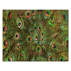 Peacock Feathers Green Background Rectangular Jigsaw Puzzl by Simbadda