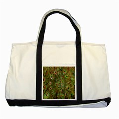 Peacock Feathers Green Background Two Tone Tote Bag by Simbadda