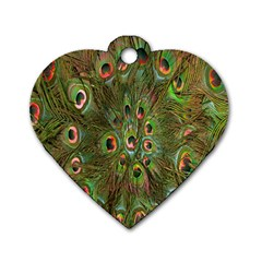 Peacock Feathers Green Background Dog Tag Heart (two Sides) by Simbadda