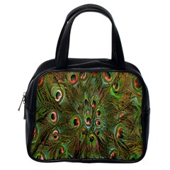 Peacock Feathers Green Background Classic Handbags (one Side) by Simbadda