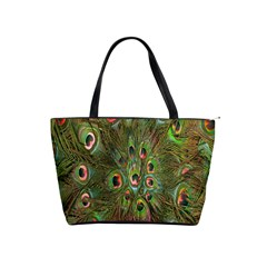 Peacock Feathers Green Background Shoulder Handbags by Simbadda