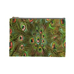 Peacock Feathers Green Background Cosmetic Bag (large)