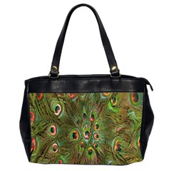 Peacock Feathers Green Background Office Handbags (2 Sides)  by Simbadda