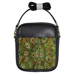 Peacock Feathers Green Background Girls Sling Bags by Simbadda