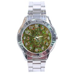 Peacock Feathers Green Background Stainless Steel Analogue Watch by Simbadda