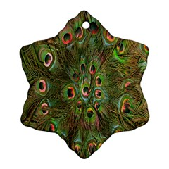 Peacock Feathers Green Background Ornament (snowflake) by Simbadda
