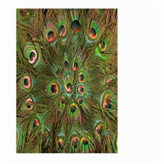 Peacock Feathers Green Background Large Garden Flag (two Sides) by Simbadda