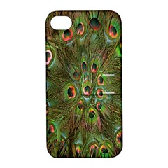 Peacock Feathers Green Background Apple Iphone 4/4s Hardshell Case With Stand by Simbadda