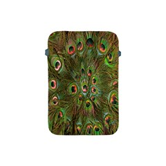 Peacock Feathers Green Background Apple Ipad Mini Protective Soft Cases by Simbadda