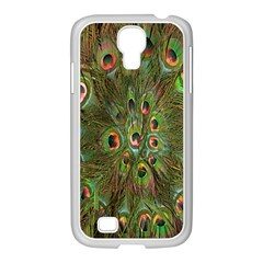 Peacock Feathers Green Background Samsung Galaxy S4 I9500/ I9505 Case (white)