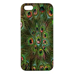Peacock Feathers Green Background Iphone 5s/ Se Premium Hardshell Case by Simbadda