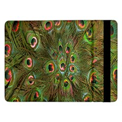 Peacock Feathers Green Background Samsung Galaxy Tab Pro 12 2  Flip Case