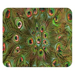 Peacock Feathers Green Background Double Sided Flano Blanket (small)